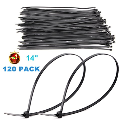 HAODE FASHION 120 Pack Long 14 Inch Black Strong Cable Ties, Upgrade Industrial UV Resistant Durable Life Zip Ties, Heavy Duty Cable Management for Large Objects (14, 50LB, Black, Outdoor Use)
