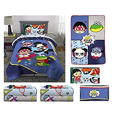 Franco Mfg Ryan's World Kid's Twin Bed in a Bag - Includes Blanket and Extra 3pc Twin Sheet Set: Home & Kitchen