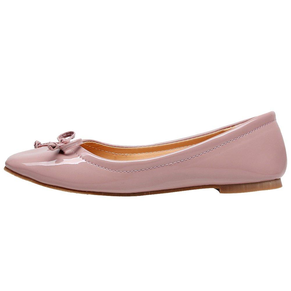 Jamron Women Soft Patente de cuero PU Ocio Dolly Shoes