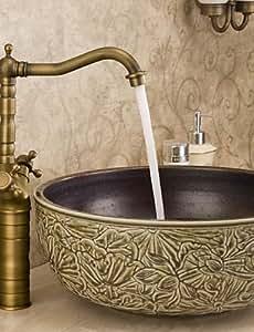 plxg (TM) baño encimera fregadero grifo mezclador monomando para lavabo manijas duales grifo latón envejecido