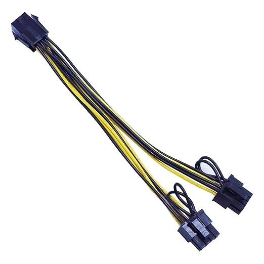 fgghfgrtgtg 18cm 6 Pines Hembra al Cable PCIE Dual Cable Tarjeta ...