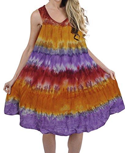 LA LEELA Rayon Tie Dye Beach Formal Long Dress Womens Pink 2145 Plus (Cocktail Cruise Dress)