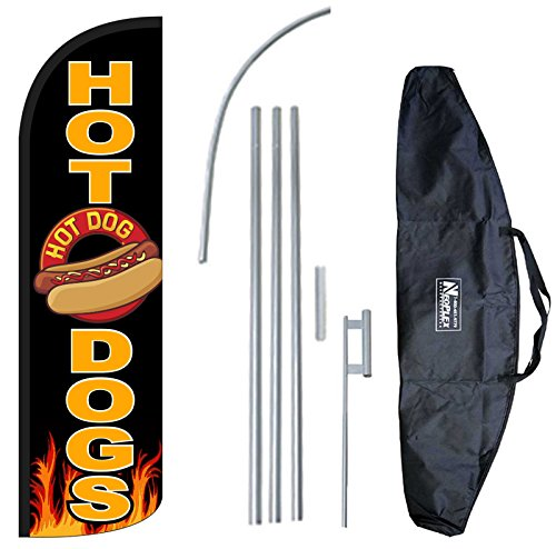 """HOT DOGS"" 12-foot KING SIZE Complete Swooper Feather Flag and Case Set...includes 12-foot Flag, 15-foot Pole, Ground Spike, and Carrying/Storage Case"