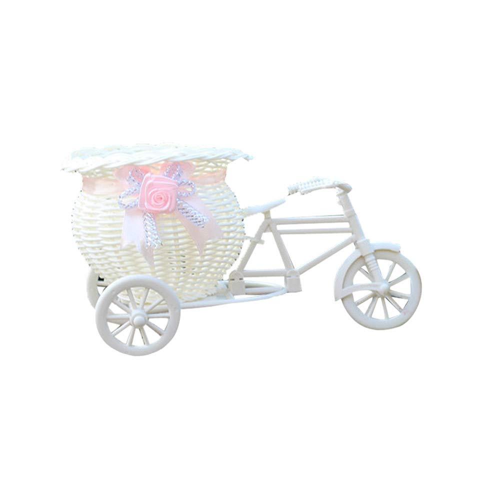 A fang FANS Premium Qualit/é Artificielle Rotin Tricycle V/élo Fleur Panier De Vase De Stockage D/écoration De Noce De Mariage