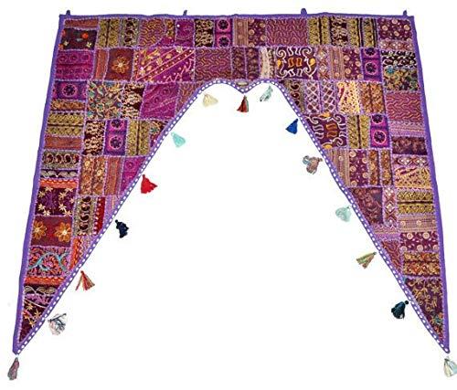 (GANESHAM Indian Home Decor Ethnic Wall Hanging Vintage Patchwork Door Bohemian Valance Hand Embroidered Beaded Door Topper Toran Window Valance (Purple))