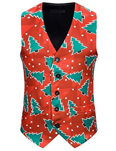 ief.G.S Boy Casual Print Suit Vest Men's Dress Vest for Xmas Dinner Banquet Ball Wedding