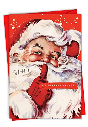 Tanked Santa - Tipsy Santa Merry Christmas Note Card with Envelope (4.63 x 6.75 Inch) - Funny Drunk Santa Claus, Xmas Happy Holidays Note Card - Humorous Season's Greetings Notecard - Tipsy Santa