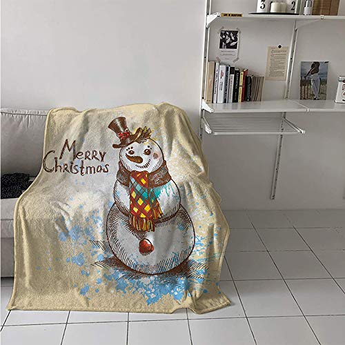 Maisi Super Soft Lightweight Blanket, Artistic Snowman with Winter Accessories Color Splashes Happy Xmas Sketchy, Custom Design Cozy Flannel Blanket 70x50 Inch Cream Brown Blue