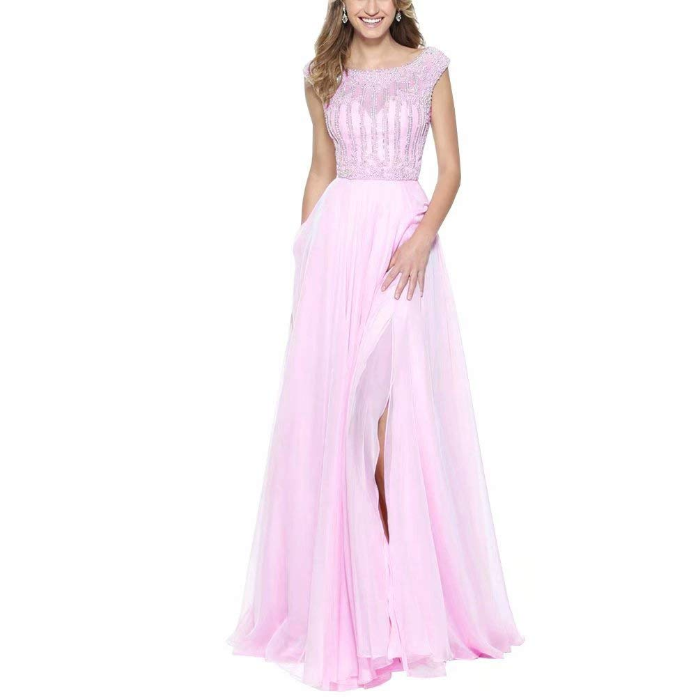 Dark Pink Unions Women Crystal Beaded Tulle Prom Dress A Line Long Split Formal Evening Gown