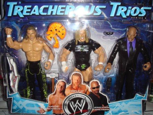 WWE Jakks Pacific Wrestling Exclusive Action Figure 3-Pack Series 5 Treacherous Trios D-Generation X (HHH & Shawn Michaels) & Jonathan Coachman by Jakks Pacific