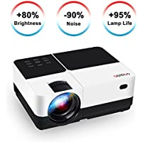 """Video Projector, GEARGO 2800 Lumens HD Portable Projector with 185"""" and 1080P Support, Compatible with Amazon Fire TV Stick/Laptop/ SD/XBOX/ iPad iPhone Android for Home Theater"""