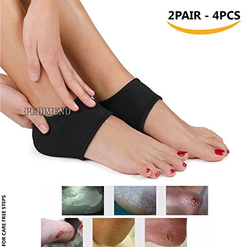 PEDIMEND 2 Pairs of MEDICAL FOOT COMPRESSION SLEEVE SOCK Can Help to Cure Cracked Foot Care / Ankle Moisturizer with Air holes / Flat Foot Protector / Heel Protector Sock / Treat Plantar Fasciitis, Heel Spurs, Heel Impact Shock Absorber, Heel Pain