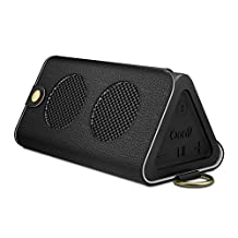 MoKo Carrying Case for OontZ Angle 3, Portable Bluetooth Speaker Cover PU Leather Protective Bag Sleeve Skins, with Holding Strap & Carabiner, BLACK (Not fit OontZ Angle 3 Plus / 3XL, OontZ XL/ Angle)