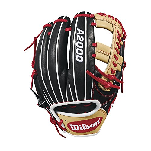 - Wilson 2018 A2000 1785 Infield Baseball Right Hand Gloves, Black/Red, 11.75