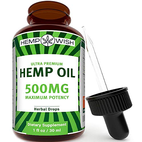 Hemp Oil Extract - Pain, Anxiety & Stress Relief - 500mg of Natural Hemp Extract - Grown & Made in The USA - Advanced Formula - Anti-Inflammatory & Joint Support - Rich in Omega 3, 6 & 9