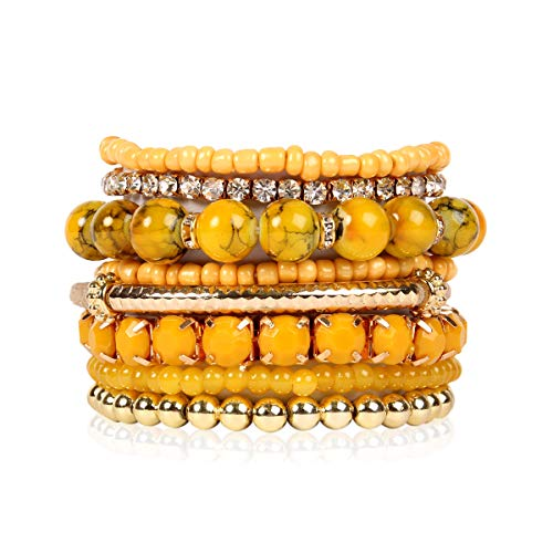 RIAH FASHION Multi Color Stretch Beaded Stackable Bracelets - Layering Bead Strand Statement Bangles (Original - Mustard, 7)