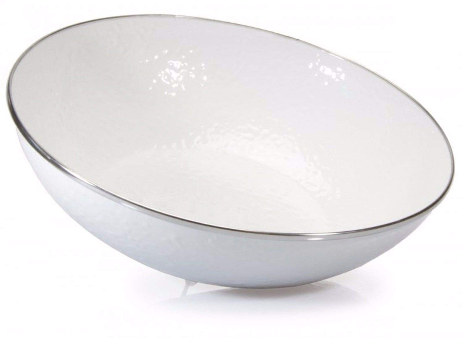 White Enamelware Catering Bowl AM05