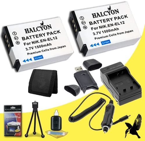 Nikon Coolpix S8100 Digital Camera EN-EL12 Battery and Wall Charger with Car Charger Adapter DavisMAX ENEL12 Battery Charger Bundle