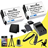 Two Halcyon 1500 mAH Lithium Ion Replacement EN-EL12 Battery and Charger Kit + Memory Card Wallet + SDHC Card USB Reader + Deluxe Starter Kit for Nikon COOLPIX AW120 Waterproof Digital Camera and Nikon EN-EL12