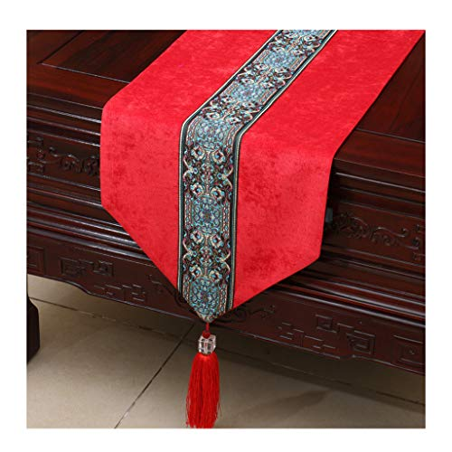 Table Runner ZHAOSHUNLI Tablecloth Bed Flag Chinese Modern Garden Table Coffee Table Bed Towel Corduroy Simple Fashion Red (Size : 33300cm)