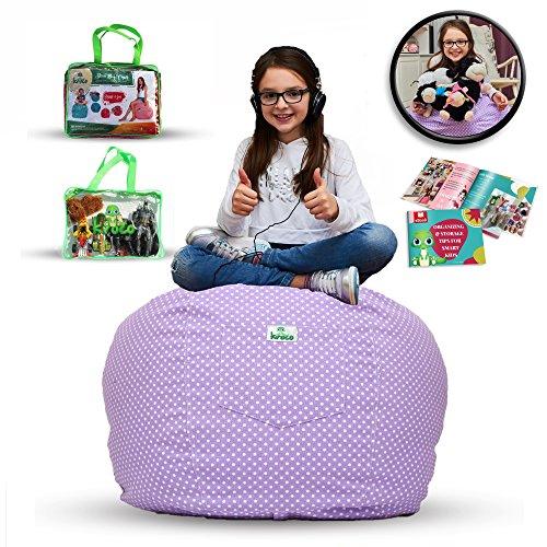 KROCO Stuffed Animal Storage Bean Bag Chair | Toy Storage Beanbag Cover for Kids,Teens and Babys | Designer Stuffie Seat Storage Beanbag | Toy Organizer 100% Cotton Premium Canvas(Extra Large, PURPLE)