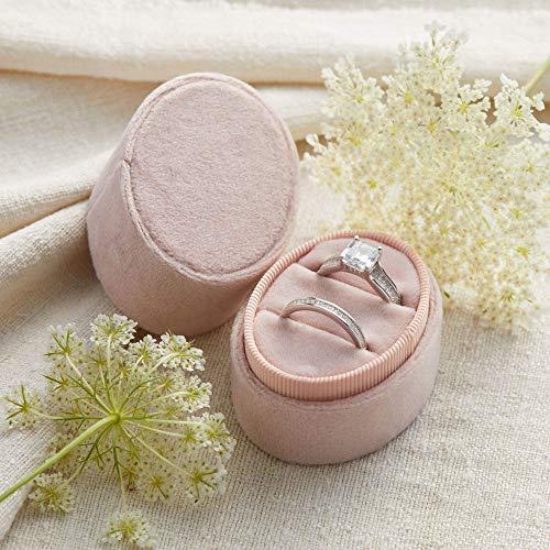 Velvet Ring Box Blush Pink, Oval 2-Ring Shape, Engagement Ring Box, Ring Bearer Box, Wedding Ring Box, Wedding Photo Shoot, Engagement Photo Shoot, Bridal Gift]()