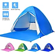 Ylovetoys Pop Up Beach Tent, 2-3 Persons Instant Beach Tents Sun Shelter Anti-UV Cabana Shade Waterproof Family Tent for Beach Camping Fishing Hiking or Picnic (Blue)
