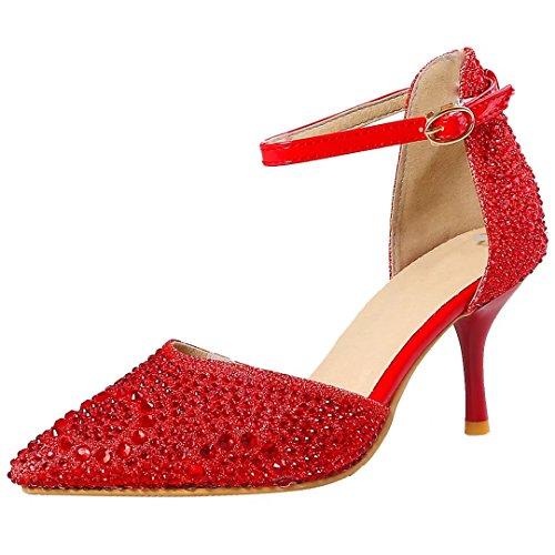 Pumps Strass High Rot Und Schuhe Heels Damen Hochzeit Mit Stiletto