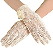 BABEYOND Floral Lace Gloves for Wedding Opera Party 1920s Flapper Lace Gloves Stretchy for Adult Size