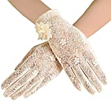 BABEYOND Floral Lace Gloves for Wedding Opera Party 1920s Flapper Lace Gloves Stretchy Adult Size