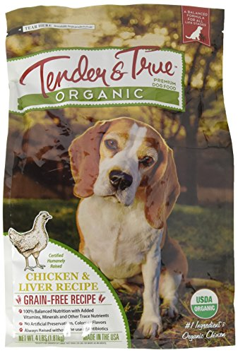 Tender & True 854003 Organic Chicken & Liver Recipe 4 lb Dry Dog Food, One Size