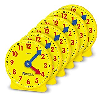 Learning Resources Gear Clock, 4 Inch, Teacher Helper, Classroom Accessories, Set of 6, Ages 5+