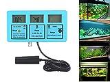 Multi-parameter Water Quality Monitor - QIYAT 5-in-1 LCD pH EC CF TDS Temperature Meter Tester Online Aquarium Acidometer Green Backlight ATC (117)