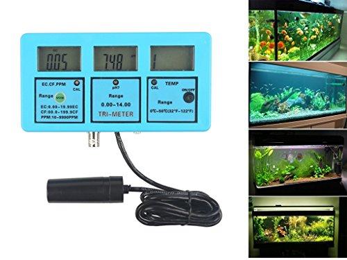 (Multi-parameter Water Quality Monitor - QIYAT 5-in-1 LCD pH EC CF TDS Temperature Meter Tester Online Aquarium Acidometer Green Backlight ATC (117))