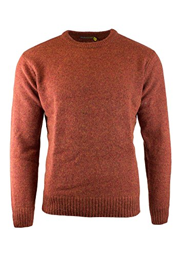 Boutique Retailer Men's Shetland Wool Crew Neck Cardigan Sweater Knitted Jumper Pullover (XXX-Large, Rust)