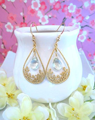 Green amethyst wildflower tear drop earrings, rustic wedding gold floral tear drop earrings, Gold branch leaf chandelier hoop earrings Wildflower Chandelier