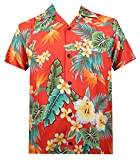 Hawaiian Shirt 46 Mens Flower Leaf Beach Aloha Party Camp Holiday Red 4XL