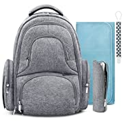 Swish Baby Diaper Bag Backpack w/Insulated Pockets and Stroller Strap - Large Waterproof Multi-Function Travel Organizer - Changing Pad, Bottle Holder and Pacifier Clip Included (Grey)