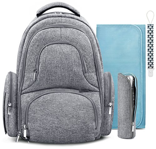 Swish Baby Diaper Bag Backpack w/Insulated Pockets and Stroller Strap – Large Waterproof Multi-Function Travel Organizer – Changing Pad, Bottle Holder and Pacifier Clip Included (Grey)