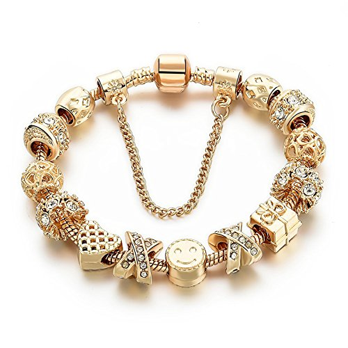 Gold Tone Bracelet Snake Chain Heart Smiley beaded Charm Bracelets Rhinestone Bangles For Women Teen Girls (Heart Charm Bracelet Chain)