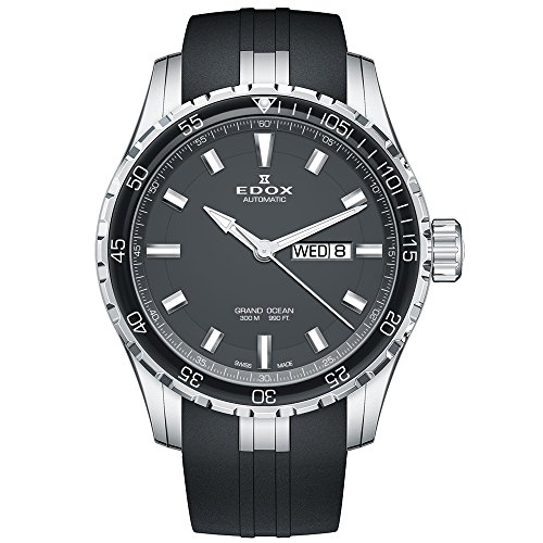 Edox Men's 'Grand Ocean' Swiss Automatic Stainless Steel and Rubber Diving Watch, Color:Black (Model: 88002 3CA NIN)