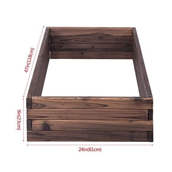 Giantex Raised Garden Bed Wood Outdoor Patio Vegetable Flower Rectangular Planter 4 🌻〖Ample Room for Planting〗- The overall dimension is 47''x24''x9''(LXWXH). This garden bed provides sufficient space for various plants growth like flowers or vegetables. Rectangular form bed which is easy and convenient for you to look after plants well inside it. 🌻〖Simple Assembling Work〗- Screws and assembly manual are included. Accurate and detailed assembling steps are presented in graphic form which is clear and easy to understand. 🌻〖Stable and Long-lasting Frame〗- This garden be is constructed with environmental friendly fir wood that is durable and stable enough to make plants grow healthily.