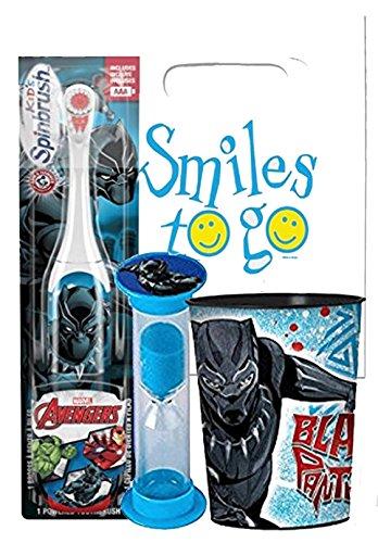 Black Panther 3pc Bright Smile Oral Hygiene Bundle! Turbo Spin Toothbrush, Brushing Timer & Mouthwash Rinse Cup! Plus Dental Gift Bag & Tooth Saver Necklace!