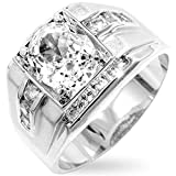 Men's Mustang Brilliant Cubic Zirconia Silver Colored Ring, Size 14