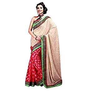 Shilp-Kala Faux Georgette , Jacquard , Net Border Worked Red Colored Sarees SKWV614B