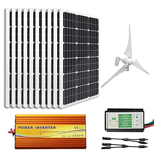 ECO-WORTHY 1.4Kw Wind Solar Power: 400W Wind Turbine Generator & 10pcs 100W Mono Solar Panels & 1500W 24V-110V Off Grid Inverter & Cable Connector Home Boat RV