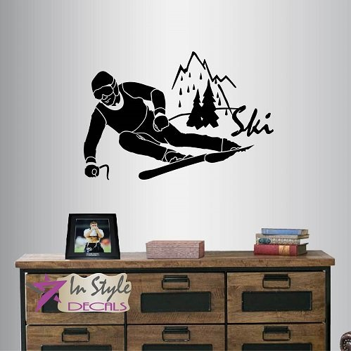 Wall Vinyl Decal Home Decor Art Sticker Ski Word Sign Man Boy Skiing Skier Extreme Sport Any Room Removable Stylish Mural Unique Design 99