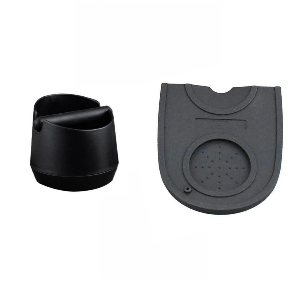 FITYLE Detachable Coffee Knock Box Bucket Grind Waste Bin Black with Non-slip Tamper Mat