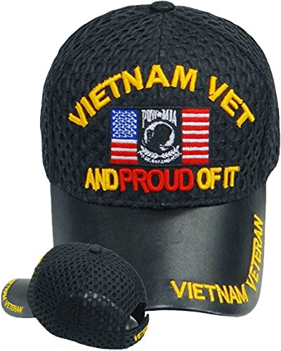 Vietnam Vet And Proud of It Baseball Cap Black Leather Mesh Hat POW MIA