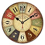 Cheap LEERYA Vintage France Paris Colourful French Country Tuscan Style Paris Wood Wall Clock